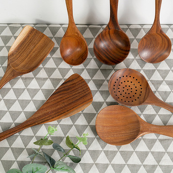 Natural Wood Tableware Bamboo Utensils Tool Spoon Ladle Turner Long Rice Colander Soup Skimmer Cooking Spoons Scoop Kitchen Set 2