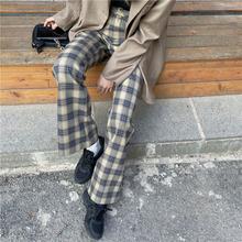 Womens Plaid Wool Blend Wide Leg Pants High Waist OL Casual Cropped Trousers 2XL