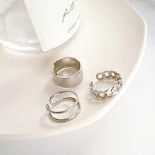Neue Retro Einfache Metall Drei Anzug Ring Mode Persönlichkeit Neutral Einstellbare Öffnen Reif Für Männer Und Frauen