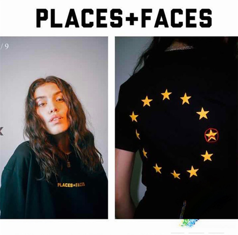 2020ss Places Plus Faces T-Shirts Women Men 1:1 High-Quality Yellow Letter Logo Star Printing Places+Faces T Shirt