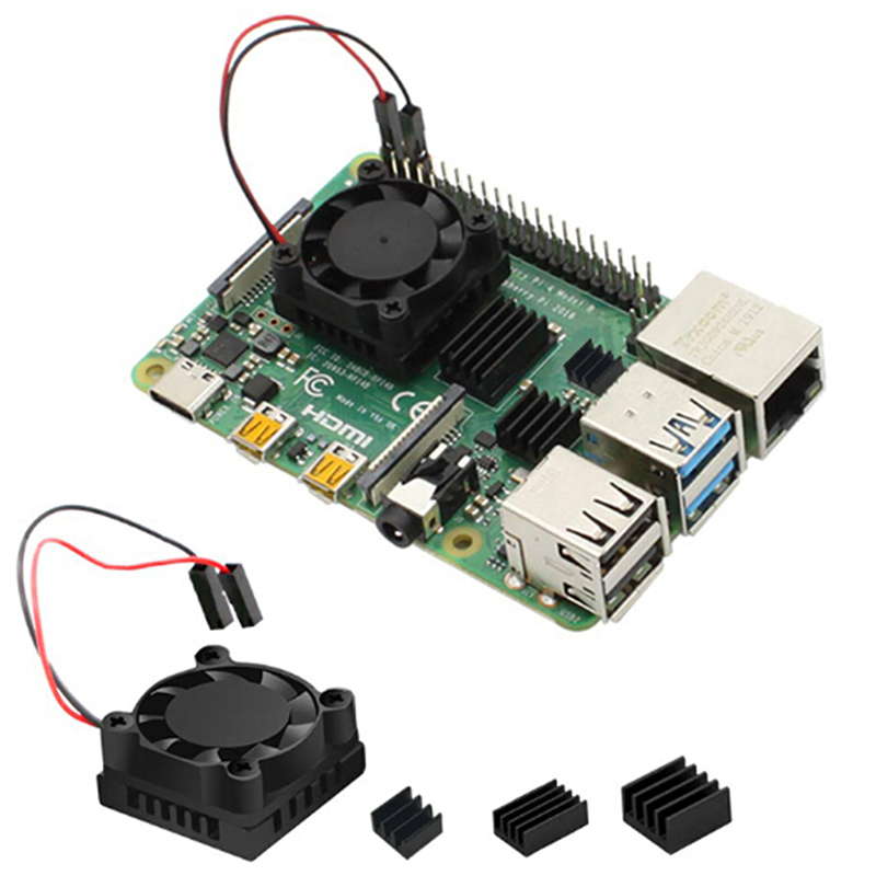 1/2 Dual Fan Square Cooling Fan With Heatsink Cooler Kit For Raspberry Pi 4B ( 4 Model B ) Computer Components Supplies