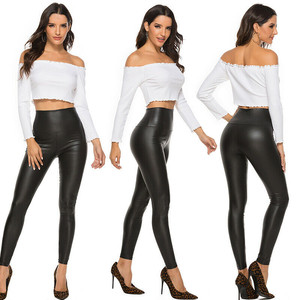 Leather Shiny Sexy Leggings for Women Vadim 2020 Summer High Waist Black Stretchy Faux Leather Pant Mujer Leggings Ropa