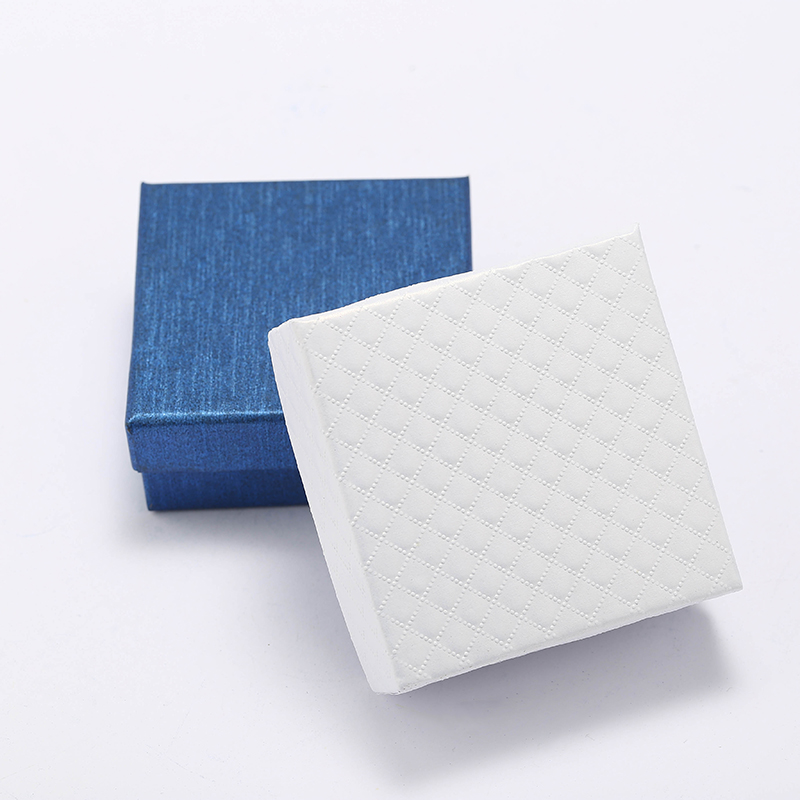 Yhpup Fashion Simple Blue Earring Gift Box Double Sponge Protection Box Accessories