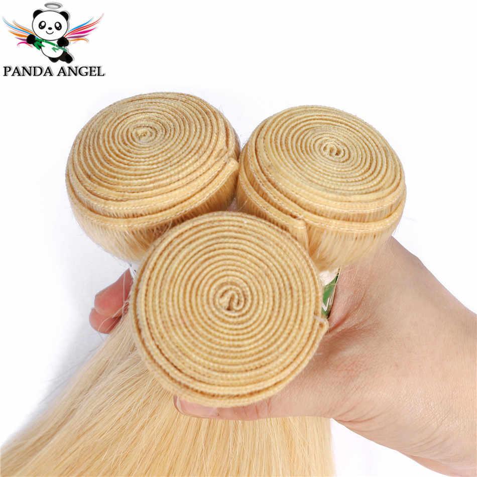 Panda 613 sarışın düz ile 13*4 dantel Frontal kapatma demetleri hint Remy 100% insan saçı sarışın 613 demetleri frontal ile