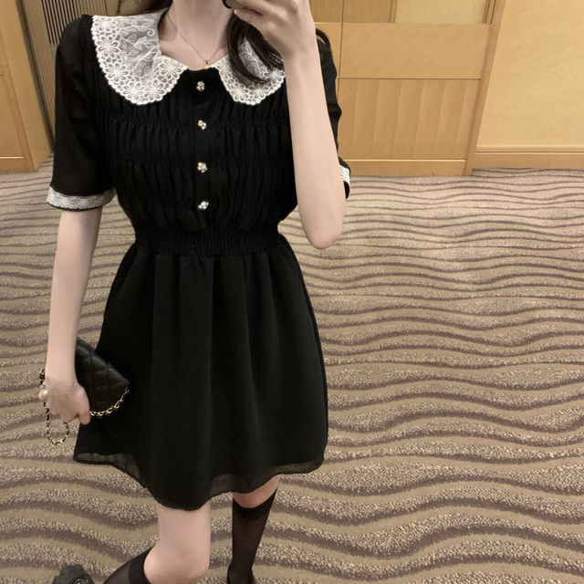 2021 Summer Retro Lace Peter Pan Collar Short Sleeve Black Chiffon Vestido Holiday A-line Chic Casual Ladies Slim Dress 2