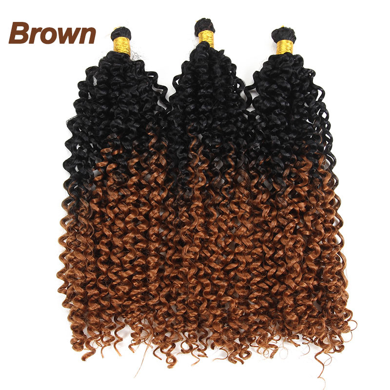 ¨Best DealHair-Bundles Curly Weave Afro Synthetic-Hair-Extensions Ombre 14inch Black RootsŸ