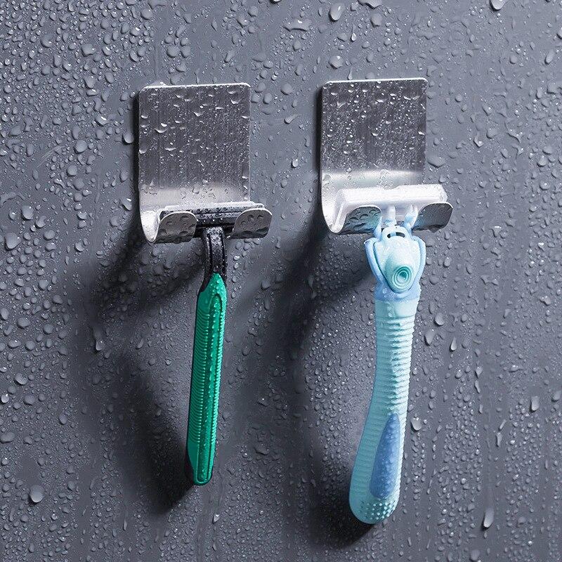 1pcs New Men Shaving Shaver Shelf 304 Stainless Steel Razor Holder Shaving Razor Rack Bathroom Viscose Razor Hook Multi Function
