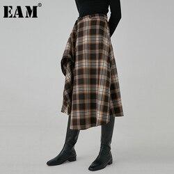 [EAM] коричневая юбка в клетку с завышенной талией, асимметричная строчка, темпераментная юбка средней длины, женская мода, новая весенне-осен...