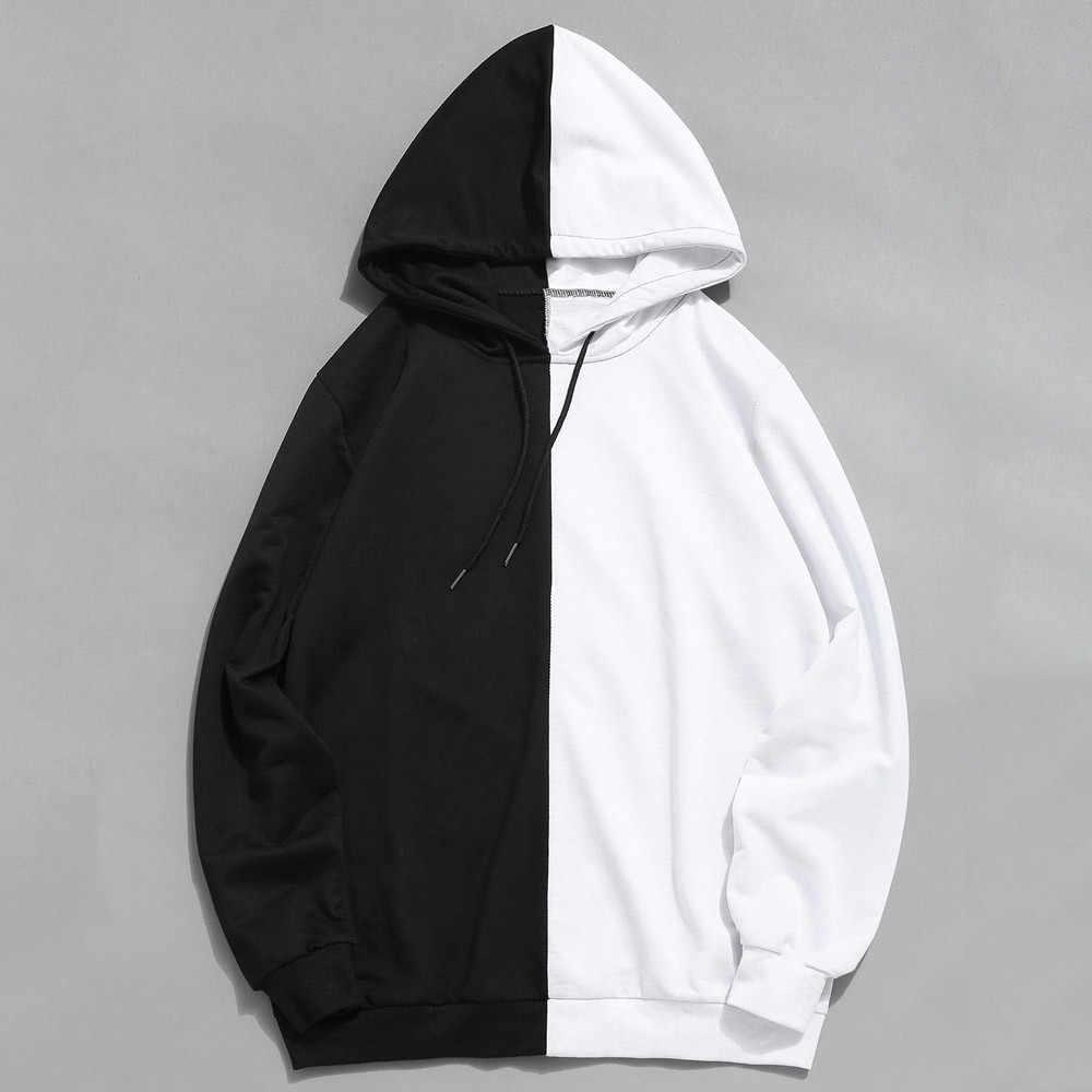 Mens Hoodies kapşonlu Sweatshirt Casual Patchwork uzun kollu katı ince eşofman Hoodie erkek kazak dış giyim Sudadera Hombre