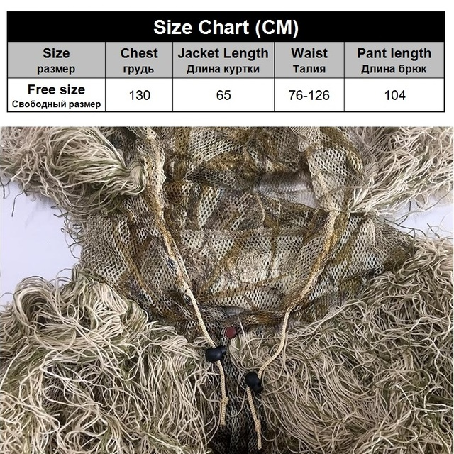 3D Withered Grass Ghillie Suit 4 PCS Sniper Military Tactical Camouflage Clothing Hunting Suit Army Hunting Clothes Birding Suit 6