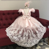 Sparkly pink princess dress lace hi lo cap sleeves sexy back little girl birthday pageant party prom gown with train Ostrich fur