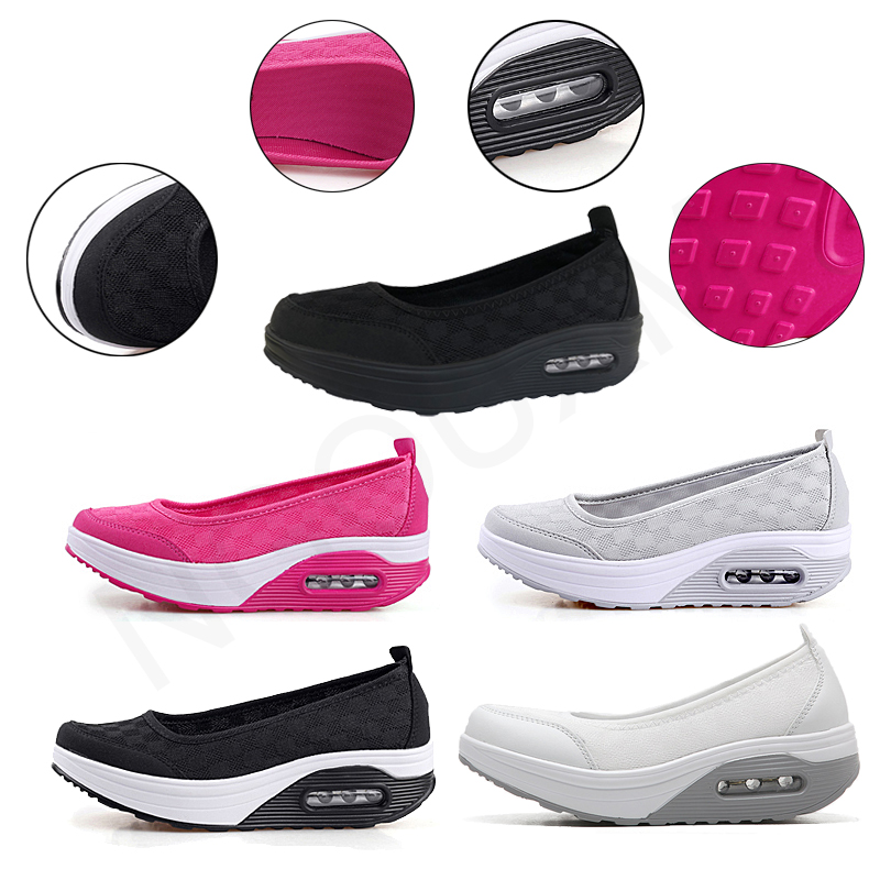 Image 2 - Ngouxm Summer Women Platform Shoes Woman lady Flat Casual Shallow Shoes Slip On Comfort Lace Black Fabric ShoesWomens Flats   -