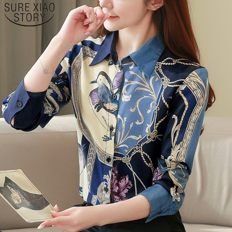High Quality Clothes Vintage Long Sleeve Silk Blouse Women Spring Fashion 2020 Office Lady Shirt  Loose Plus Size Tops 8425 50