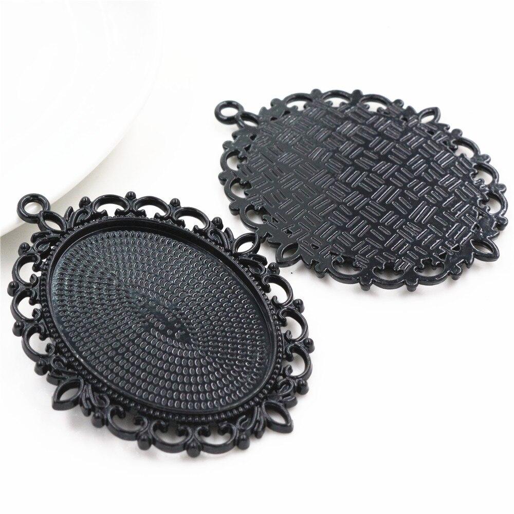 New Fashion 5pcs 30x40mm Inner Size Black Pierced Style Cabochon Base Setting Charms Pendant (B2-29)