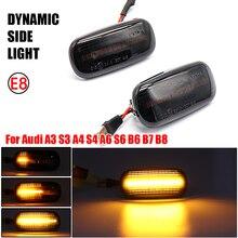 مصباح LED للإشارة الانعطاف الديناميكي الضوء الوامض للحاجز الجانبي المتدفق على المياه لأودي A3 S3 8P A4 B6 B8 B7 S4 RS4 A6 S6 C5