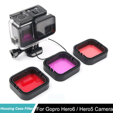 цена на Go Pro HERO5 HERO6 Black Camera Dive Lens Color Filter Set For GoPro Hero 6 Hero 5 Accessories Super Suit Housing Case