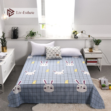 Liv-Esthete Cute Cartoon Rabbit Grid Flat Sheet Printed Bed Linen Double Queen King Cover For Children Adult
