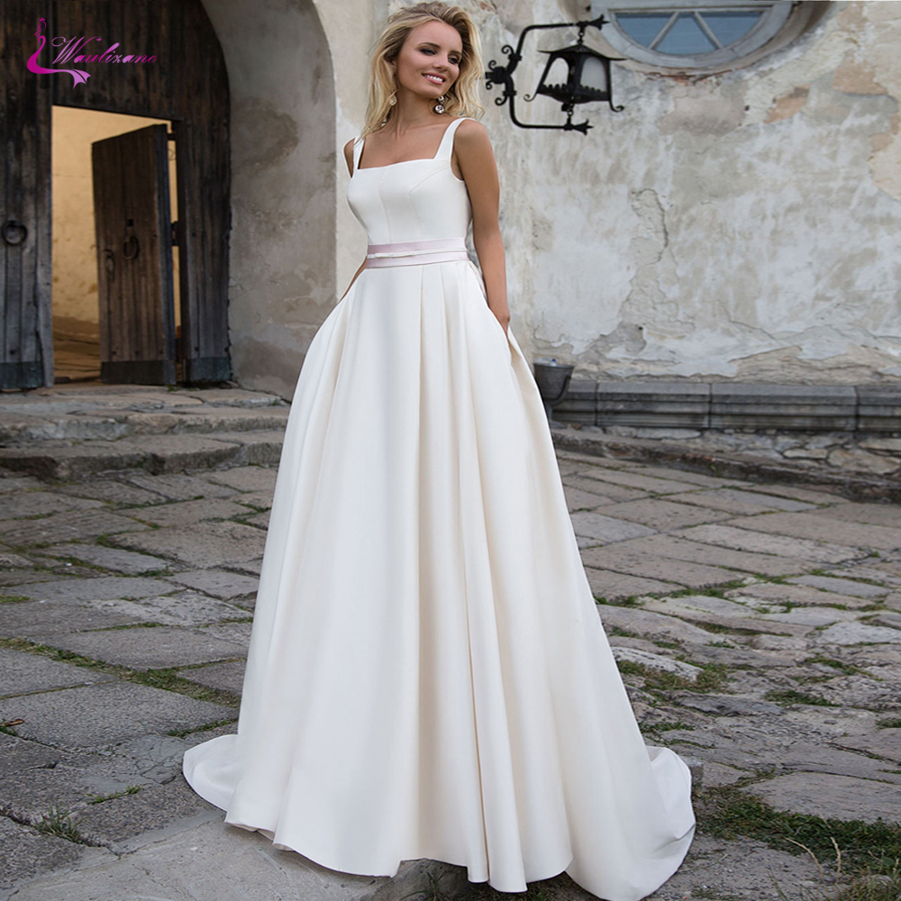 Waulizane Simple Satin A Line Wedding Dress With Pink Belt Sexy Backless Bridal Dress
