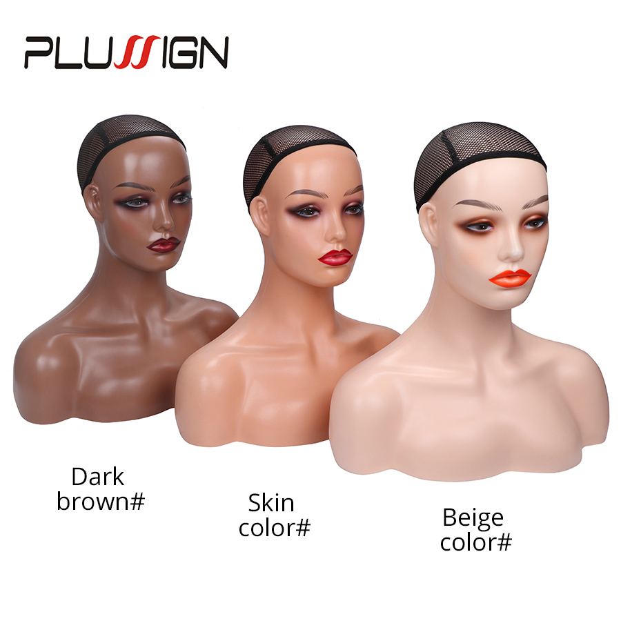 Mannequin Head For Wig Display Realistic Mannequin Head With Eyelashes Three Color For Different Skin Model With Shoulders