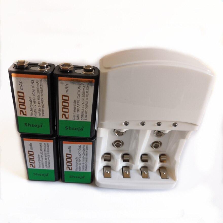 4 pièces SHSEJA grande capacité 2000mah 9V NiMH batterie rechargeable ensemble + universel intelligent 9v AA AAA chargeur de batterie