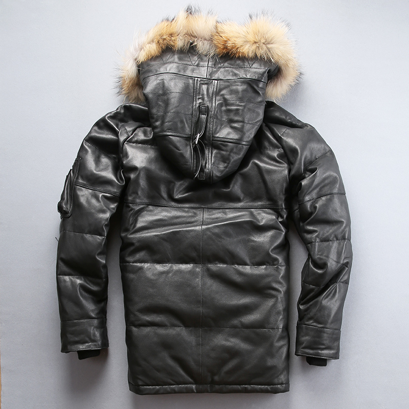 2020 Russia Winter Genuine Men Fur Hooded Coat Men's Medium American Air Force Leather Down Jacket