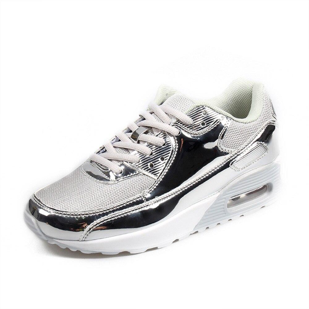 Image 4 - COWCOM Spring  Fashion Air Cushion Sports Shoes Mesh Cloth Breathable Mens Shoes Bright Leisure Running ShoesWomens Vulcanize Shoes   -