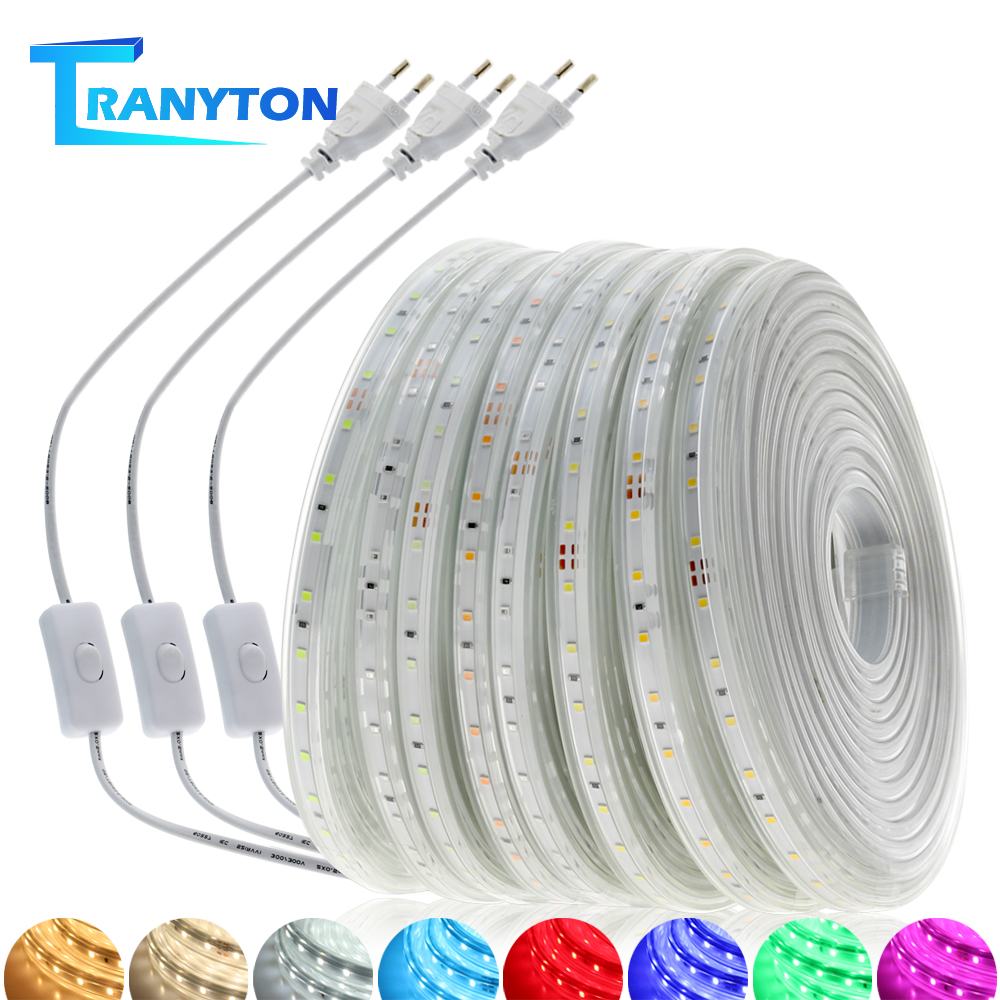 2835 LED  Light Strip AC 220V IP67 Waterproof Multi-color Lights High Brightness 60LEDs/M Flexible LED Strips 1-20m