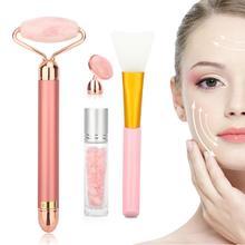 Pembe elektrikli yüz yeşim silindir seti titreşimli yüz masaj rulosu yüz kaldırma cilt sıkılaştırma anti kırışıklık yüz bakımı aracı