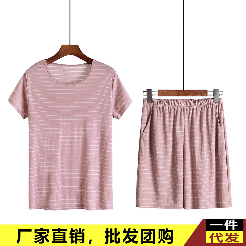 Summer New Style Ladies Home Leisure Suit Thin Stripes Loose And Plus-sized Casual Short Half Sleeve Shorts Pajamas