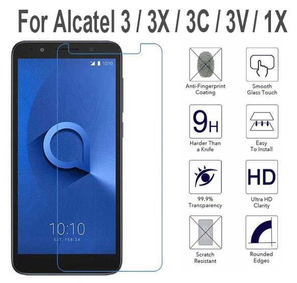 Temperli cam Alcatel için 1 1X 1C 1S 3 3X 3V 3C 2019 Tetra 5033D 5059D 5009D 5009A 5052D 5058i 5099D 5026D ekran filmi