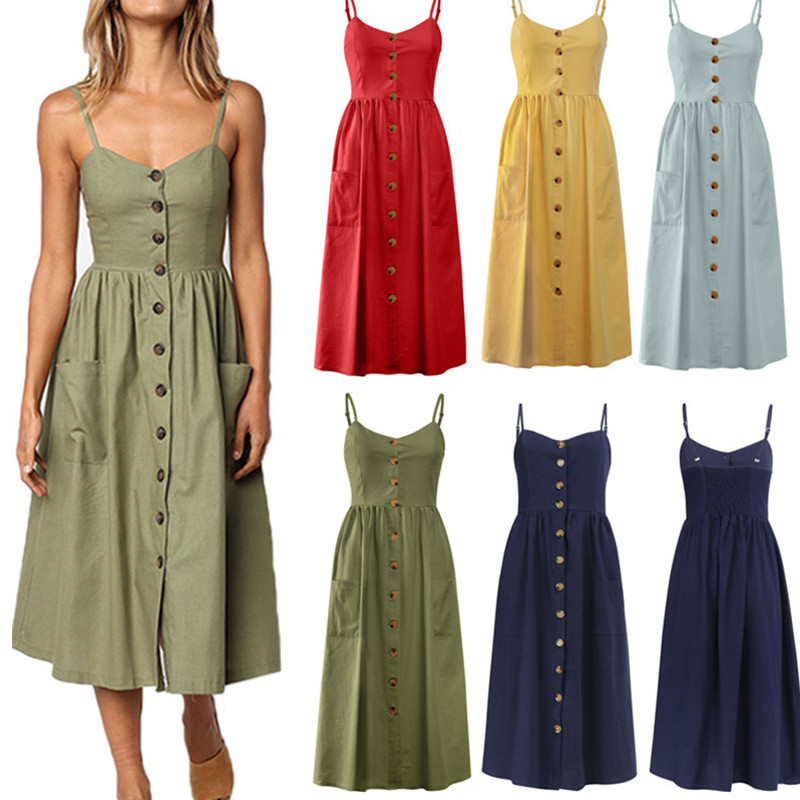 Women's Sexy Summer Midi Dresses Boho Backless Sleeveless Button Striped Dot Solid Midi Dress Slip Sundress With Pockets Robe