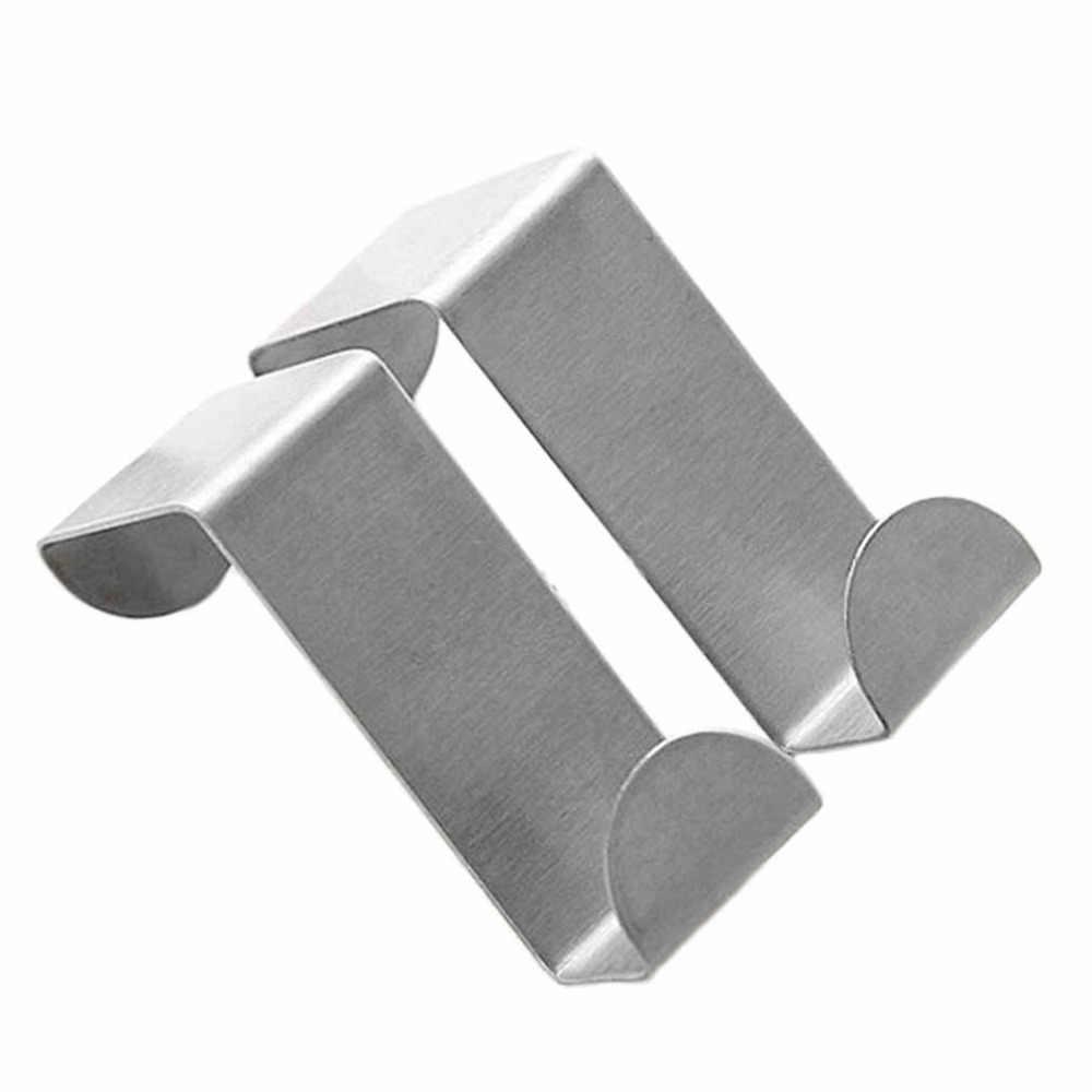 2 piezas de la puerta de acero inoxidable ganchos colgando gabinete de cocina colgador de ropa en puerta tipo fuerte práctica accesorios para el hogar