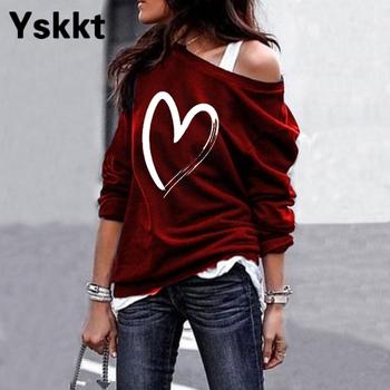Yskkt Women's Pullover Sweatshirt Heart Printed Long Sleeve One Shoulder Tops Autumn Winter Sweat Shirts Woman Casual Top 4