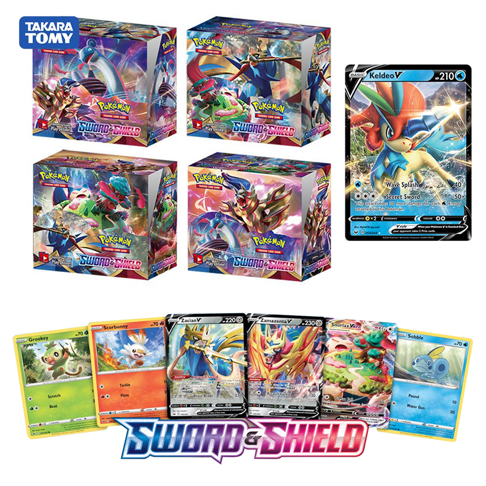New 324pcs Pokemon Sword Shield Series Rebel Clash Vmax Sun & Moon Trading Cards Game English Version Kids Collection Toys