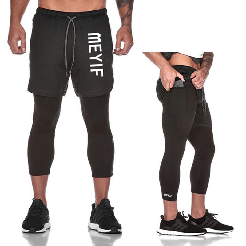 Men's 2020 Spring Autumn New Sports Fitness Net Yarn Fake Two-Piece Joggers Shorts Gyms Fitness Outdoor Jogging Training Shorts