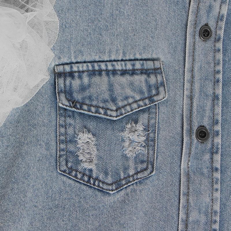Image 5 - TWOTWINSTYLE Ruffles Denim Patchwork Womens Jacket Lapel Collar Puff Sleeve Summer Long Coats FemaleJackets