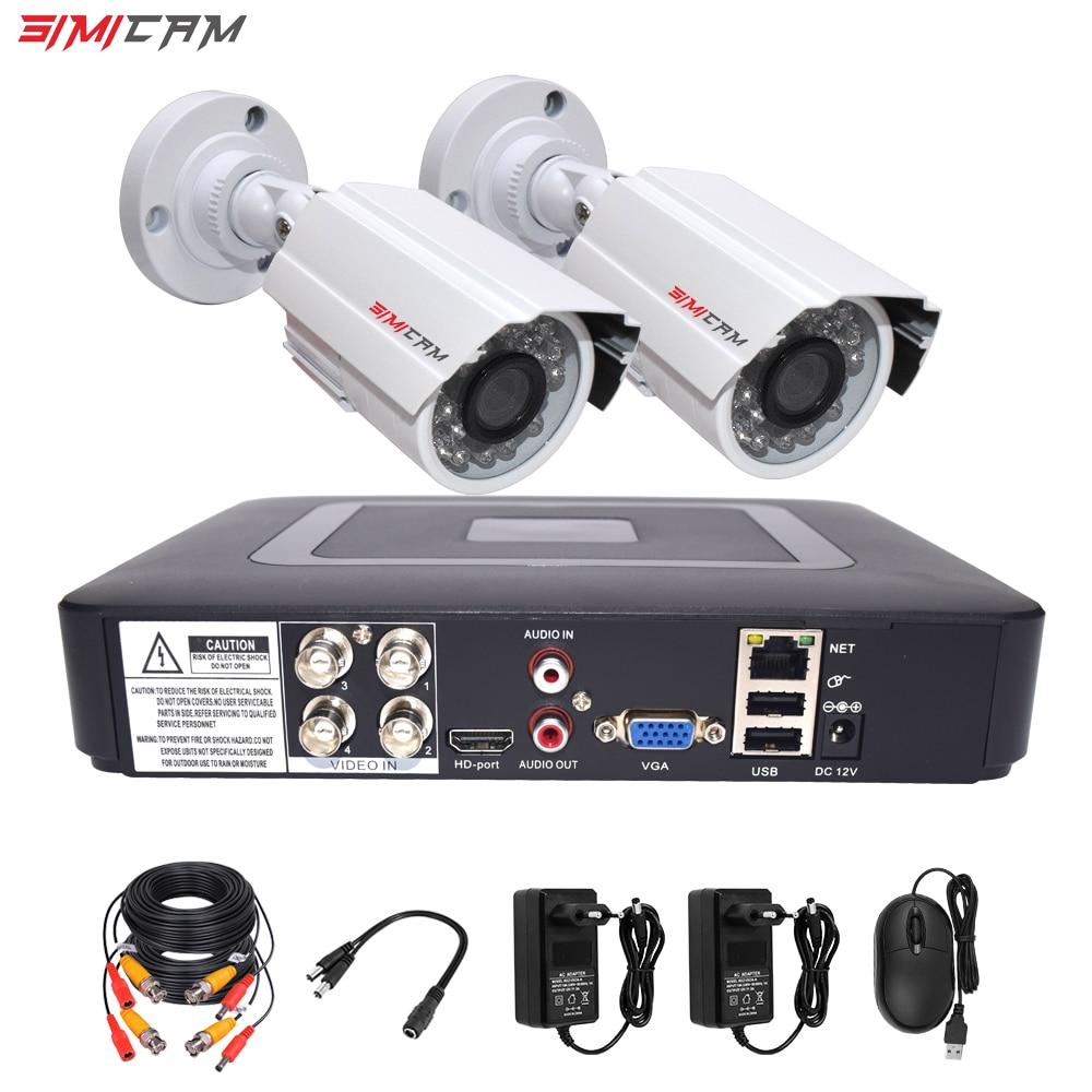 Caméra de sécurité cctv kit système de surveillance vidéo 2 caméra analogique HD 720 P/1080 P AHD 4ch dvr surveillance étanche Vision nocturne