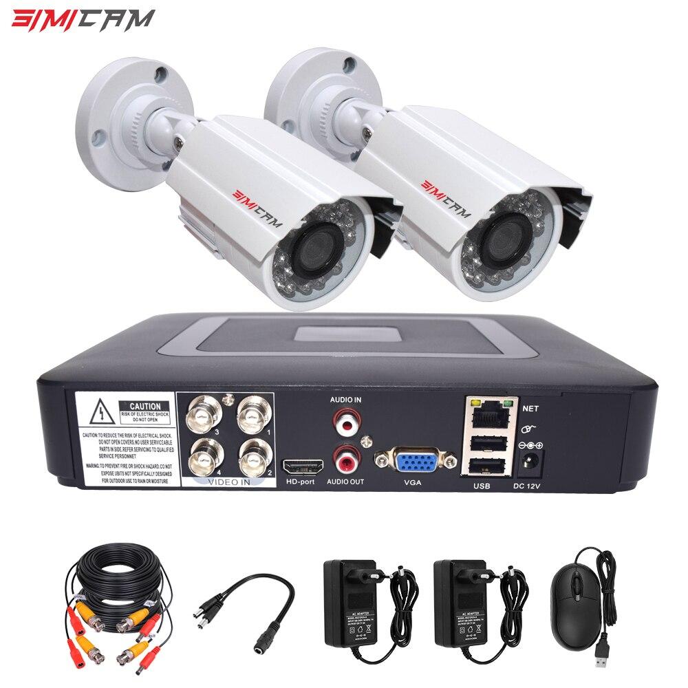 Cctv sicherheit kamera system kit video überwachung 2 kamera Analog HD 720 P/1080 P AHD 4ch dvr überwachung wasserdichte Nachtsicht