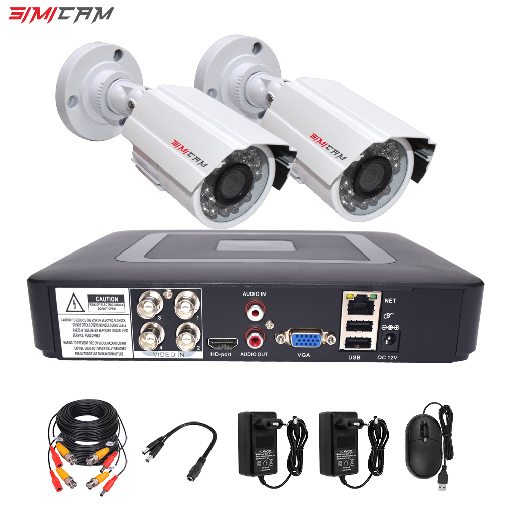 Cctv Security Camera System Kit Video Surveillance 2camera Analog HD 720P/1080P AHD 4ch Dvr Surveillance Waterproof Night Vision