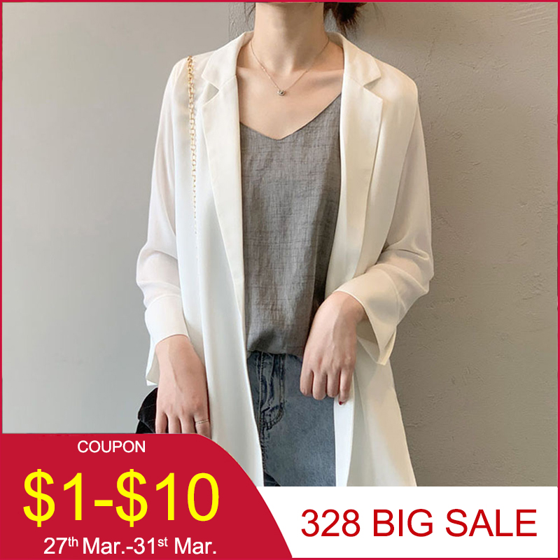 OL 2020 Spring Summer Black White Casual Blazer Ladies Loose Plain Thin Jackets Korean Janpanese Style Fashion Bleiser Feminino