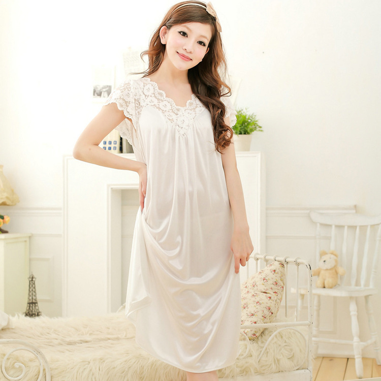 [Hot Selling] Spring And Summer Lengthened Viscose Loose-Fit Women's, White Lace Princess Palace Nightgown 008