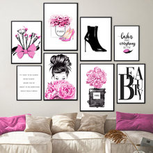 Wall Art Canvas Painting Paris Vogue Women Makeup Eyelashes Flower Nordic Posters And Prints Wall Pictures For Salon Room Decor