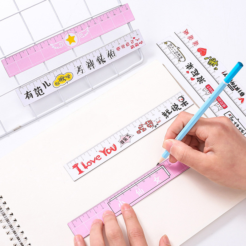 1PC 18cm Cute Flamingo Cherry Rulers Kawaii Bendable Straight Rulers For Kid Girl Gift School Office Supplies Lovely Stationery