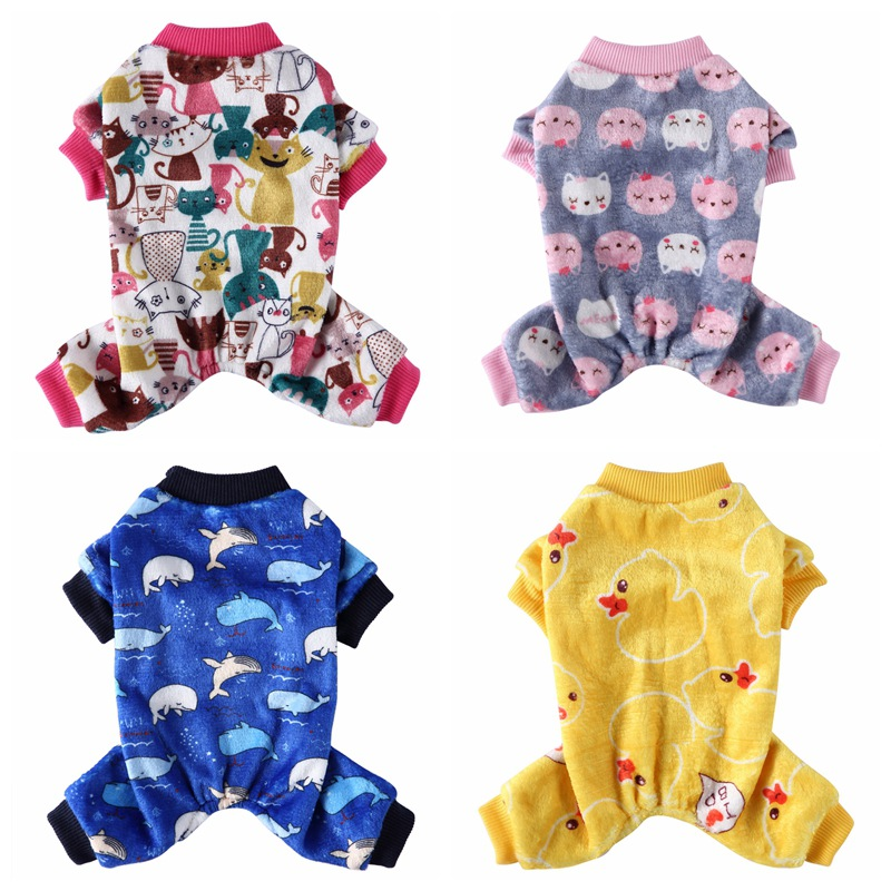 Pet Soft Fleece Pajamas For Small Medium Dogs Cute Animal Pattern Puppy Dogs Cat Clothes Jumpsuit Warm Coats for French Bulldog