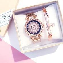 Women Bracelet Watches Set Rose Lucky Fl