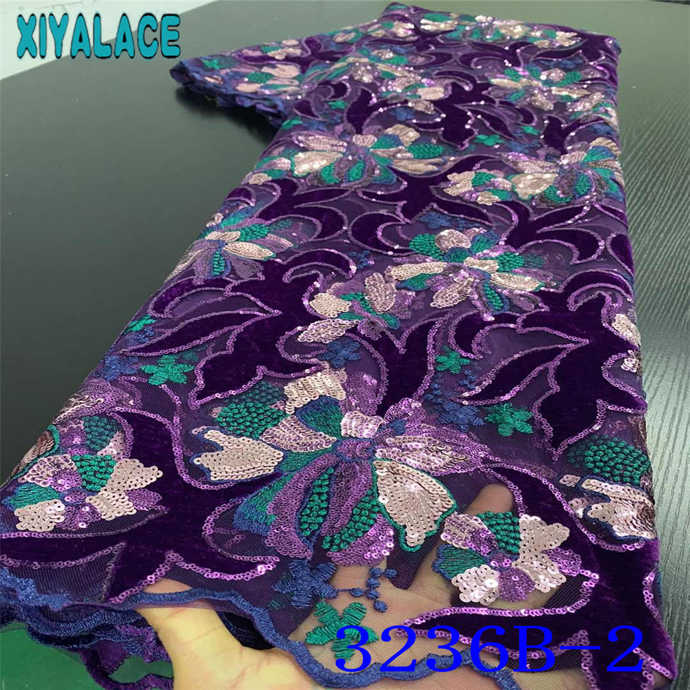 Latest African Laces 2020 High Quality Velvet Lace Fabric Sequin Fabric Laces French Nigerian Embroidery For Wedding KS3236B