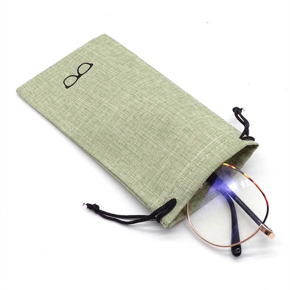 5 個ポータブルリネン生地ポーチサングラスバッグ多機能眼鏡ケース光学メガネ布バッグ