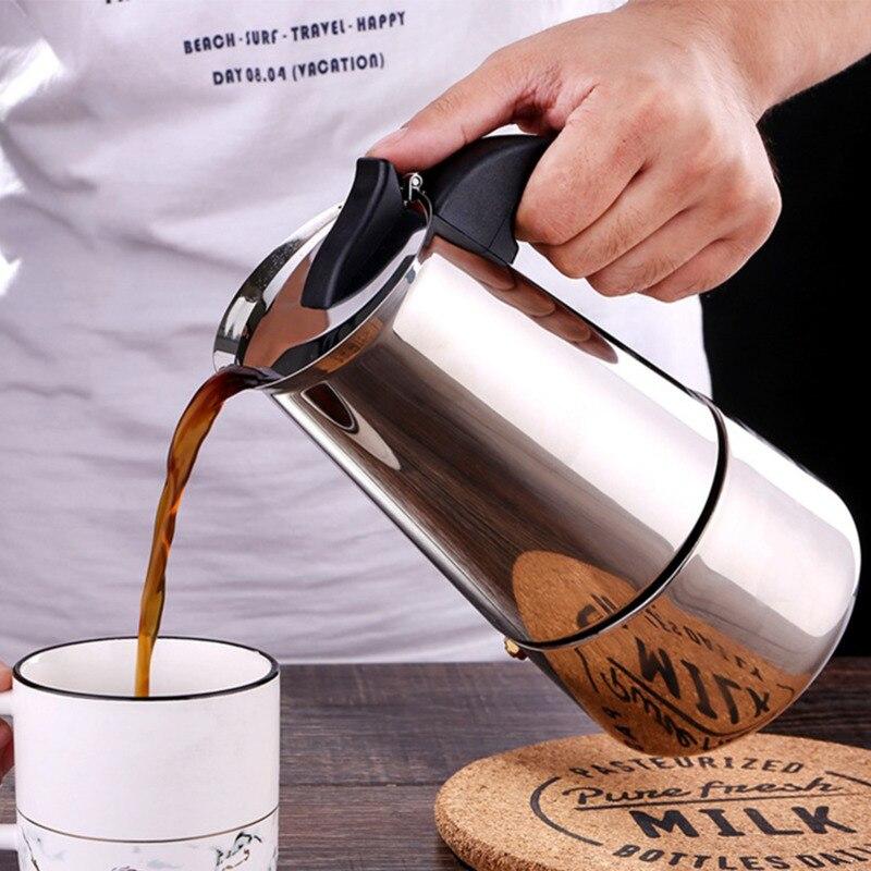 Нержавеющаясталь Кофе горшки кофеварка для приготовления эспрессо на гейзерная Кофеварка 100-450 мл Кофе фильтр для воды горшок Кухня Кофе п...