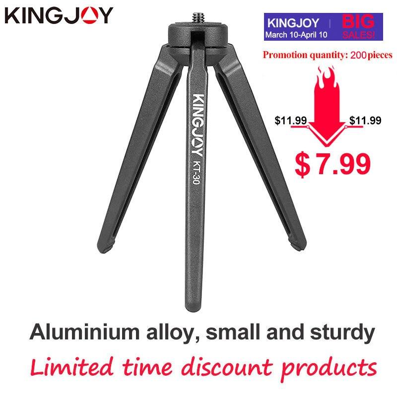 Kingjoy officia KT-30/m5 alumínio mini tripé para o telefone suporte da câmera com bola cabeça móvel smartphone titular tripé flexível