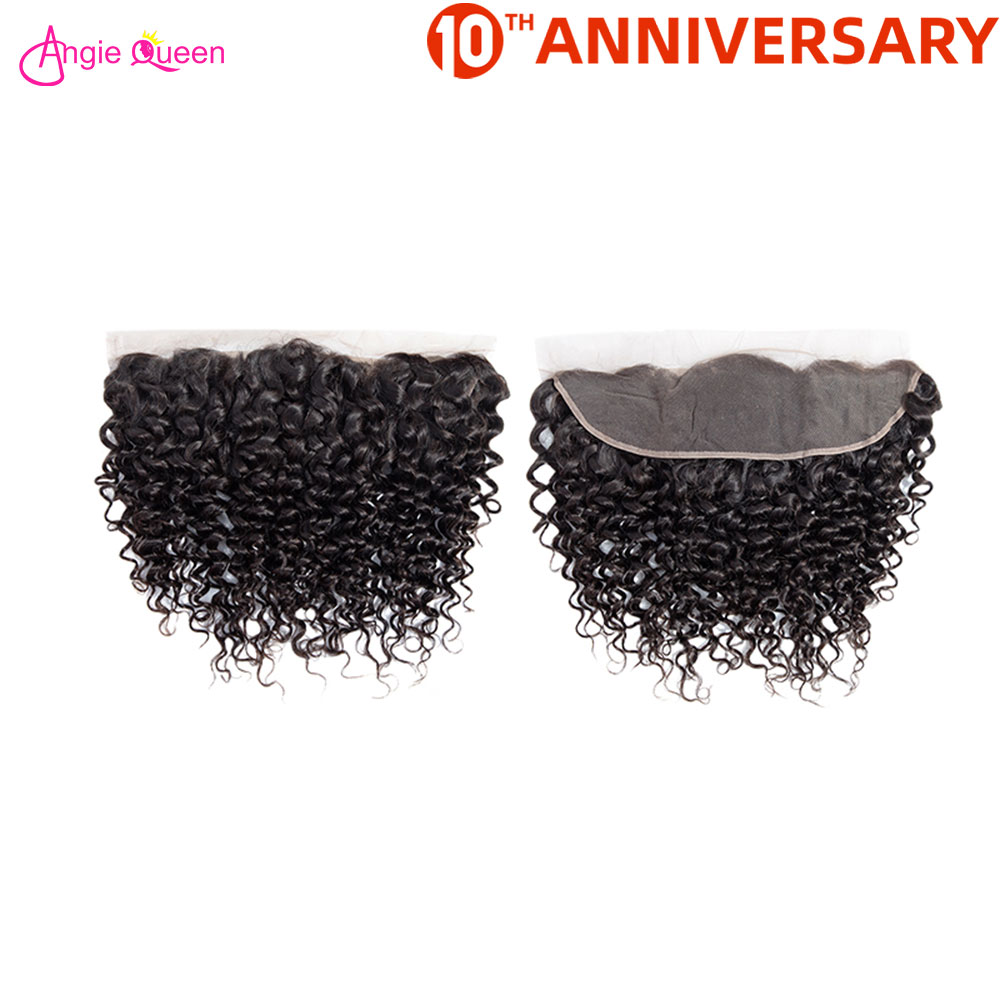 ANGIE QUEEN Brazilian Hair Lace Frontal Water Wave Frontal 100% Human Hair Frontal 150% Free Part Frontal 8-20 Inch Nonremy Hair